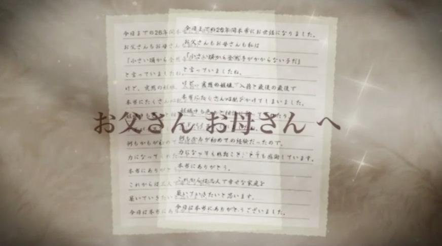 結婚披露宴両親への手紙映像
