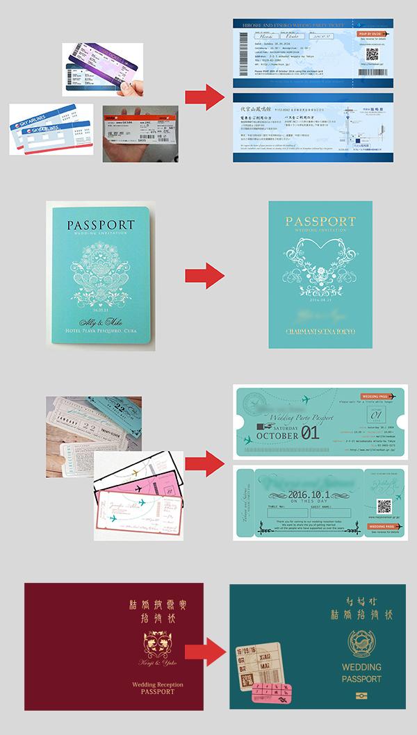 パスポート風招待状アレンジ