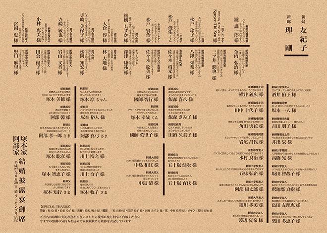 クラフト紙席次表