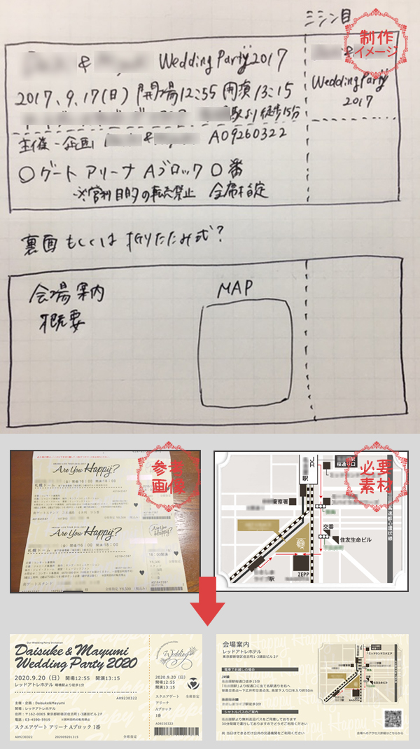 結婚式チケット風招待状制作ガイド